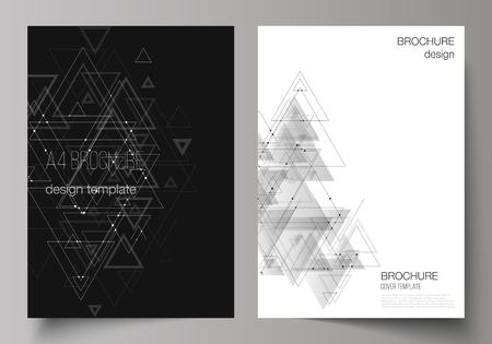 The vector editable layout of A4 format cover mockups design templates for brochure, magazine, flyer, booklet. Polygonal background with triangles, connecting dots and lines. Connection structure. Ilustración de vector