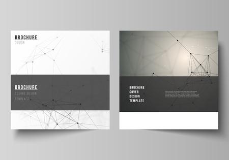 El diseño vectorial de dos plantillas de diseño de cubiertas de formato cuadrado para folletos, volantes, revistas. Tecnología, ciencia, concepto médico. Estructura de la molécula, conectando líneas y puntos. Fondo futurista.