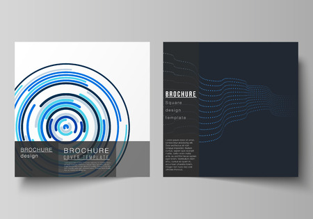 The minimal vector illustration of editable layout of two square format covers design templates with simple geometric background made from dots, circles, rectangles for brochure, flyer, magazine
