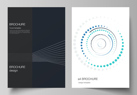 The vector layout of A4 format modern cover mockups design templates for brochure, magazine, flyer, booklet, annual report. with simple geometric background made from dots, circles, rectangles.