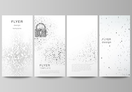The minimalistic vector illustration of the editable layout of flyer, banner design templates. Binary code background. AI, big data, coding or hacker concept, digital technology background