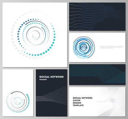 The minimalistic abstract vector illustration of the editable layouts of modern social network mockups in popular formats. with simple geometric background made from dots, circles, rectangles. Иллюстрация