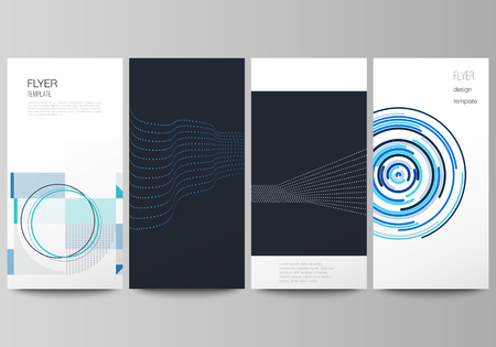 The minimalistic vector illustration of the editable layout of flyer, banner design templates with simple geometric background made from dots, circles