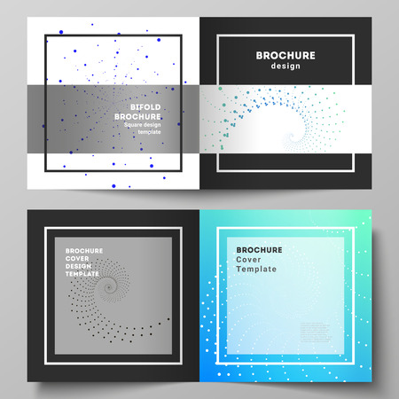 The black colored vector illustration of layout of two covers templates for square design bifold brochure, magazine, flyer, booklet. Geometric technology background. Abstract monochrome vortex trail
