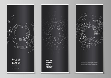 The vector layout of roll up banner stands, vertical flyers, flags design business templates. Network connection concept with connecting lines and dots. Technology design, digital geometric background.