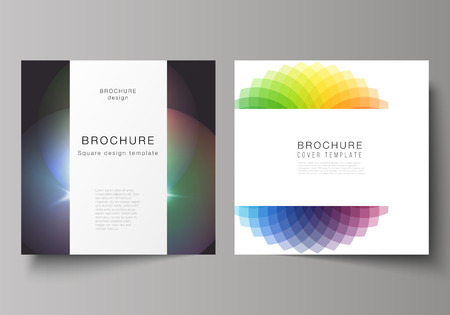 The minimal vector illustration of editable layout of square format covers design templates for brochure, flyer, magazine. Abstract colorful geometric backgrounds in minimalistic design to choose from Иллюстрация