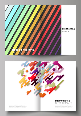The vector illustration of the editable layout of two A4 format modern cover mockups design templates for bifold brochure, magazine, flyer, booklet, annual report. Abstract colorful geometric backgrounds in minimalistic design to choose from