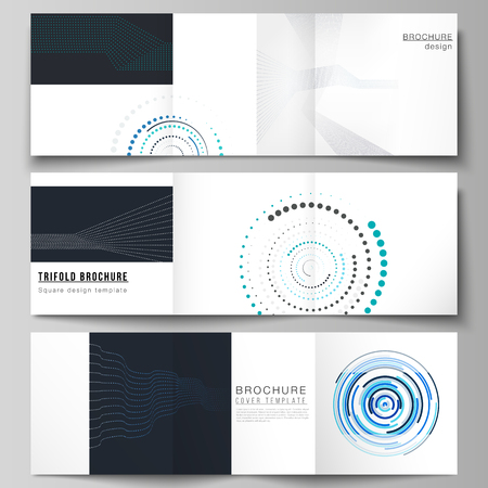 The minimal vector editable layout of two square format covers design templates with simple geometric background made from dots, circles, rectangles for trifold square brochure, flyer, magazine