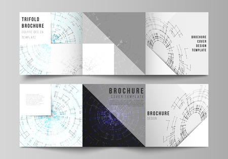 The vector layout of covers design templates for trifold square brochure or flyer. Network connection concept with connecting lines and dots. Technology design, digital geometric background Ilustração