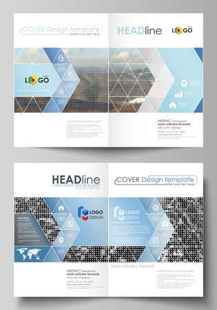 Business templates for bi fold brochure, magazine, flyer, booklet or annual report. Cover design template, easy editable vector, abstract flat layout in A4 size. Abstract landscape of nature. Dark color pattern in vintage style, mosaic texture.