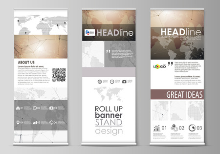 The minimalistic vector illustration of the editable layout of roll up banner stands, vertical flyers, flags design business templates. Global network connections, technology background with world map Illustration