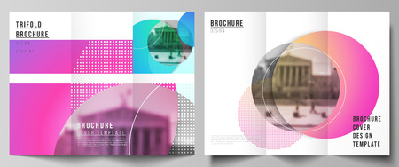 The minimal vector illustration of editable layouts. Modern creative covers design templates for trifold brochure or flyer. Creative modern bright background with colorful circles and round shapes
