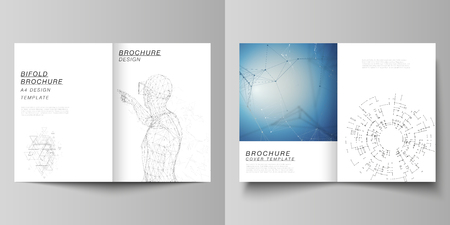 The vector layout of two A4 format cover mockups design templates for bifold brochure, magazine, flyer, booklet, annual report. Technology, science, future concept abstract futuristic backgrounds.