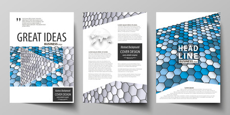 Business templates for brochure, magazine, flyer, booklet or annual report. Cover design template, easy editable vector, abstract flat layout in A4 size. Blue and gray color hexagons in perspective. Abstract polygonal style modern background.