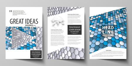 Plantillas comerciales para folletos, revistas, volantes, folletos o informes anuales. Plantilla de diseño de portada, vector editable fácil, diseño plano abstracto en tamaño A4. Hexágonos de color azul y gris en perspectiva. Fondo moderno abstracto estilo poligonal.