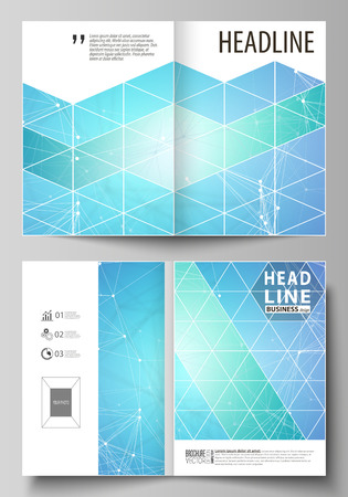 Business templates for bi fold brochure, magazine, flyer, booklet or annual report. Cover design template, easy editable vector, abstract flat layout in A4 size. Chemistry pattern, connecting lines and dots, molecule structure, medical DNA research. Medicine concept.