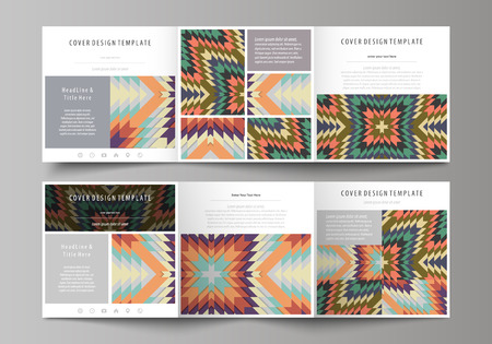 Set of business templates for tri fold square design brochures. Leaflet cover, abstract flat layout, easy editable vector. Tribal pattern, geometrical ornament in ethno syle, ethnic hipster backdrop, vintage fashion background.