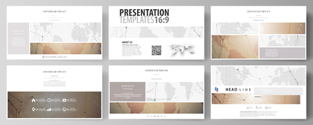 The minimalistic abstract vector illustration of the editable layout of high definition presentation slides design business templates. Global network connections, technology background with world map