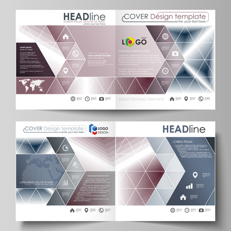 Business templates for square design bi fold brochure, magazine, flyer, booklet or annual report. Leaflet cover, abstract flat layout, easy editable vector. Simple monochrome geometric pattern. Abstract polygonal style, stylish modern background. Ilustração