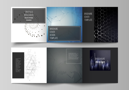 The minimal vector editable layout of square format covers design templates for trifold brochure, flyer, magazine. Technology, science, future concept abstract futuristic backgrounds.