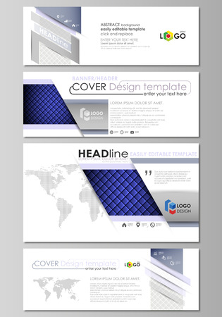 Social media and email headers set, modern banners. Business templates. Easy editable abstract design template, vector layouts in popular sizes. Shiny fabric, rippled texture, white and blue color silk, colorful vintage style background.