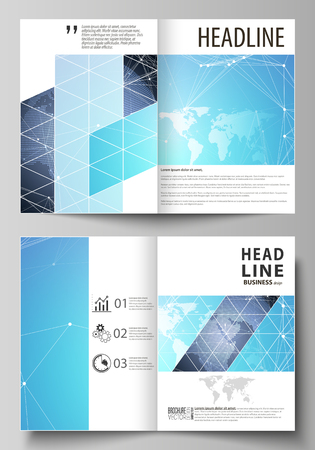 The vector illustration of the editable layout of two A4 format modern cover mockups design templates for brochure, flyer, booklet. Abstract global design. Chemistry pattern, molecule structure