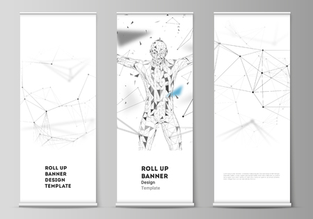 The vector layout of roll up banner stands, vertical flyers, flags design business templates. Technology, science, medical concept. Molecule structure, connecting lines and dots. Futuristic background.