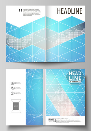 The vector illustration of the editable layout of two A4 format modern cover mockups design templates for brochure, magazine, flyer. Molecule structure. Science, technology concept. Polygonal design Vettoriali