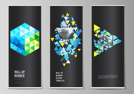 The vector illustration of the editable layout of roll up banner stands, vertical flyers, flags design business templates. Blue color polygonal background with triangles, colorful mosaic pattern