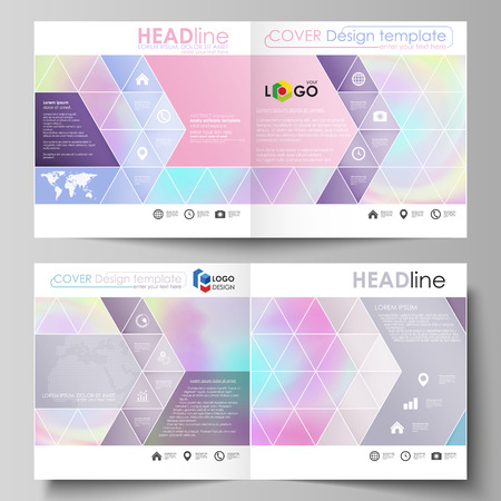 Business templates for square design bi fold brochure, magazine, flyer, booklet or annual report. Leaflet cover, abstract flat layout, easy editable vector. Hologram, background in pastel colors with holographic effect. Blurred colorful pattern, futuristic surreal texture.