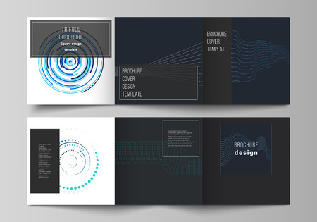 The black colored minimal vector illustration of editable layout with geometric background made from dots, circles, rectangles. Modern covers design templates for trifold square brochure or flyer