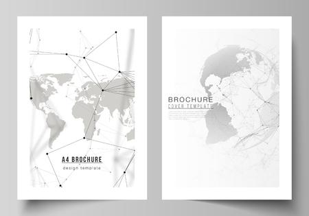 Diseño vectorial de plantillas de diseño de maquetas de portada de formato A4 para folleto, volante, folleto. Diseño futurista con globo terráqueo, conectando líneas y puntos. Conexiones de red global, concepto de tecnología. Ilustración de vector