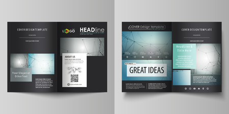 Business templates for bi fold brochure, magazine, flyer, booklet or annual report. Cover design template, easy editable vector, abstract flat layout in A4 size. Geometric background, connected line and dots. Molecular structure. Scientific, medical, technology concept.