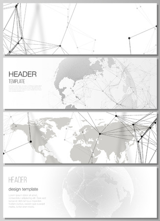 The minimalistic vector layout of headers, banner design templates. Futuristic geometric design with world globe, connecting lines and dots. Global network connections, technology digital concept Illustration