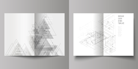 Vector editable layout of two A4 format cover mockups design templates for bifold brochure, magazine, flyer. Polygonal background with triangles, connecting dots and lines. Connection structure.
