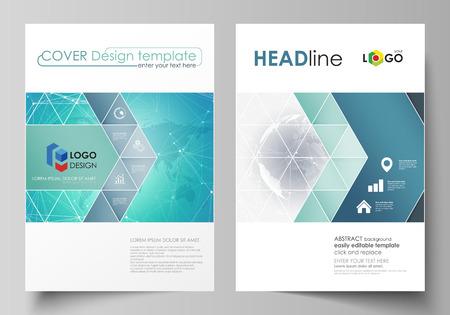 La ilustración vectorial del diseño editable de dos portadas de formato A4 con plantillas de diseño de triángulos para folleto, volante, folleto. Patrón de química. Estructura de la molécula. Antecedentes médicos, científicos. Ilustración de vector