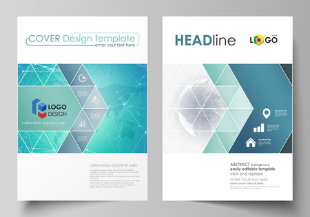 The vector illustration of the editable layout of two A4 format covers with triangles design templates for brochure, flyer, booklet. Chemistry pattern. Molecule structure. Medical, science background. Ilustração Vetorial