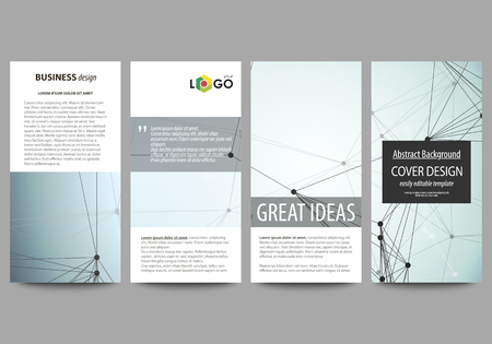 Flyers set, modern banners. Business templates. Cover design template, abstract vector layouts. Chemistry pattern, connecting lines and dots, molecule structure, scientific medical DNA research.