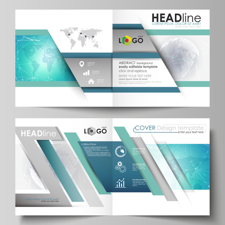 The vector illustration of the editable layout of two covers templates for square design bi fold brochure, magazine, flyer, booklet. Chemistry pattern. Molecule structure. Medical, science background.