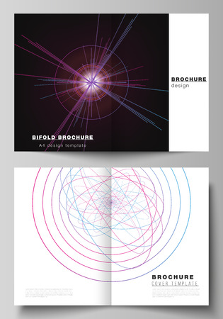 Vector layout of two A4 format cover mockups design templates for bifold brochure, flyer, report. Random chaotic lines that creat real shapes. Chaos pattern, abstract texture. Order vs chaos concept