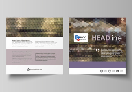Business templates for square design brochure, magazine, flyer, booklet or report. Leaflet cover, vector layout. Abstract multicolored backgrounds. Geometrical patterns. Triangular and hexagonal style Illusztráció