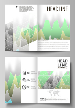 The vector illustration of the editable layout of two A4 format modern cover mockups design templates for brochure, flyer, booklet. Rows of colored diagram with peaks of different height. Illusztráció