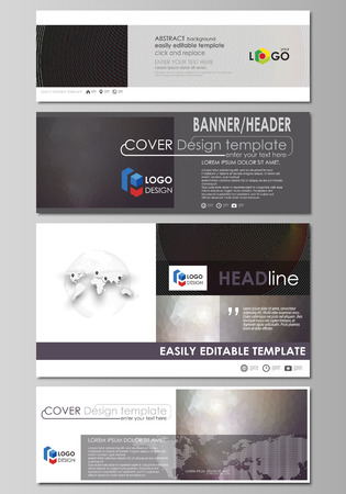 Social media and email headers set, modern banners. Business design templates. Vector layouts in popular sizes. Dark color triangles, colorful circles. Abstract polygonal style background.