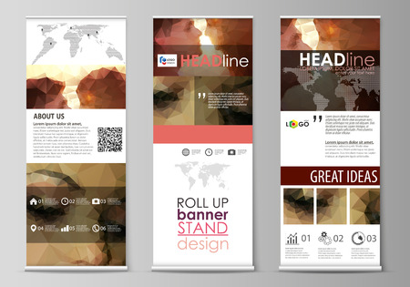 Set of roll up banner stands, flat design templates, abstract geometric style, modern business concept, corporate vertical vector flyers, flag layouts. Romantic couple kissing. Beautiful background. Geometrical pattern in triangular style.