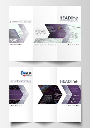 Tri-fold brochure business templates on both sides. Easy editable layout in flat style, vector illustration. Abstract waves, lines and curves. Dark color background. Motion design.