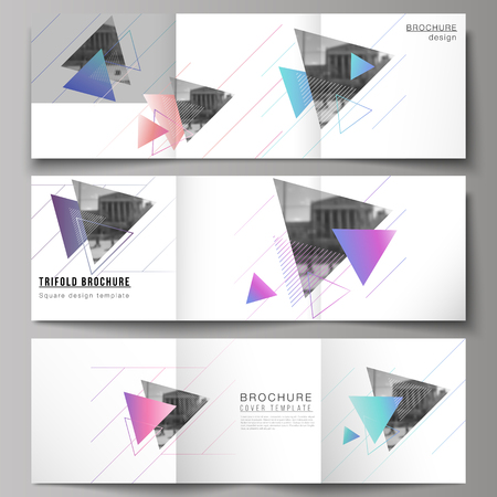 The minimal vector editable layout of square format covers design templates for trifold brochure, flyer, magazine. Colorful polygonal background with triangles, modern memphis pattern.