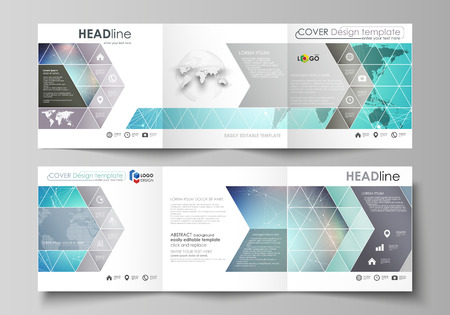 The minimalistic vector illustration of the editable layout. Two modern creative covers design templates for square brochure or flyer. Molecule structure, connecting lines and dots. Technology concept Vectores