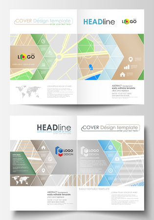Business templates for bi fold brochure, magazine, flyer, booklet or annual report. Cover design template, easy editable blank, abstract flat layout in A4 size. City map with streets. Flat design template for tourism businesses, abstract vector illustration.
