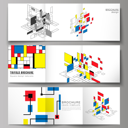 The minimal vector editable layout of square format covers design templates for trifold brochure, flyer, magazine. Abstract polygonal background, colorful mosaic pattern, retro bauhaus de stijl design. Illustration