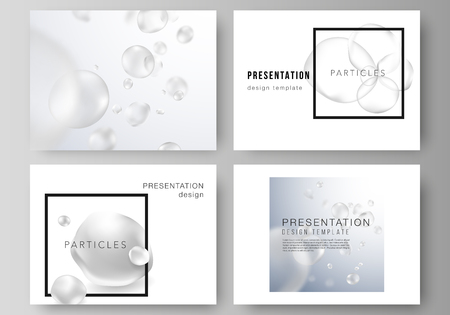 The minimalistic vector layout of the presentation slides design business templates. Spa and healthcare design. Abstract soft color medical consept background with blurred molecules or particles.